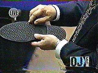 bruno magli shoe with bodziak holding sole