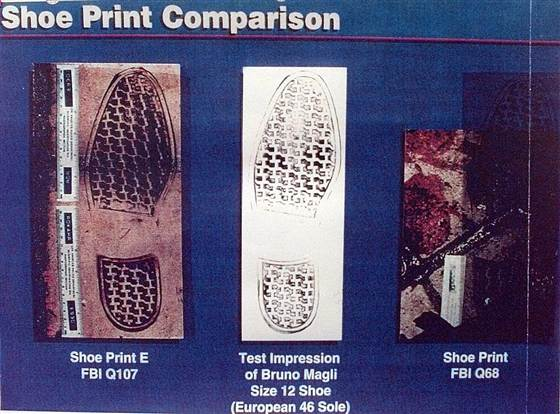 Bruno Magli shoe prints show less than 12 inches