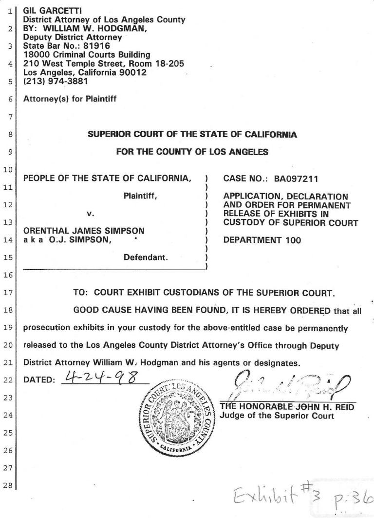 judge john reids order permitting the permanent removal of oj evidence