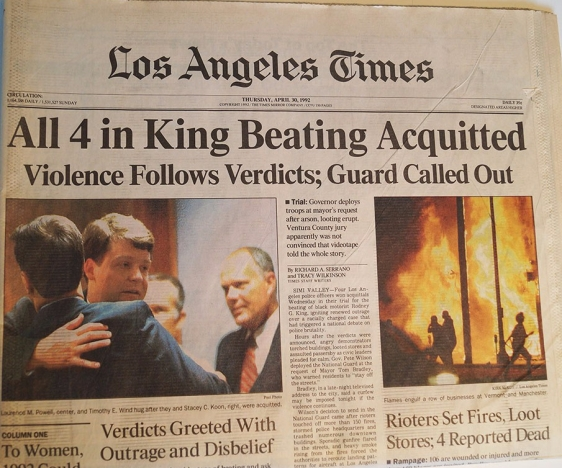 Rodney King news paper acquittals