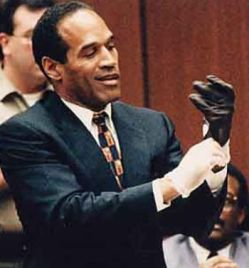 oj trying on glove