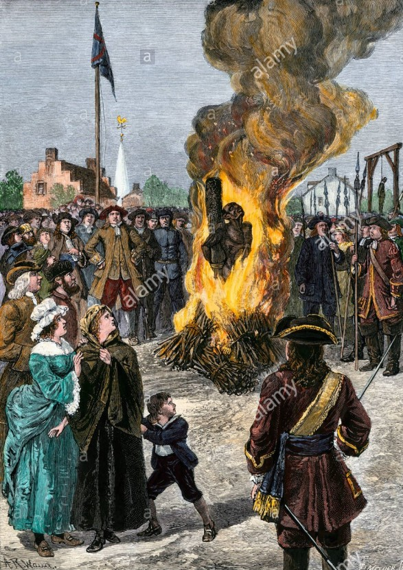 burning slave at the stake in 1741