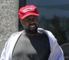 Kanye in make america grreat again cap