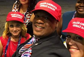 mark burns and make america cap on