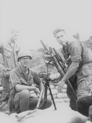 Fred whitehurst at a mortar in Viet Nam