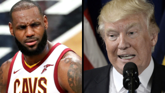 Trump and Lebron James stare down
